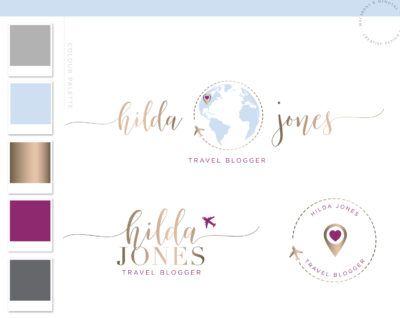 Globe Logo, Travel Logo, Plane Heart Logo Design Package, Premade Travel Agent Brand Kit, Rose Gold Travel Blog Branding Kit