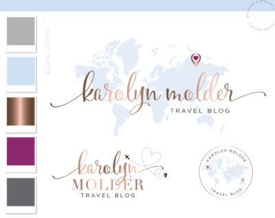 Travel agent logo, Travel globe logo, Branding kit design, Plane globe branding, Travel agency logo, Travel agent rose gold Brand Package