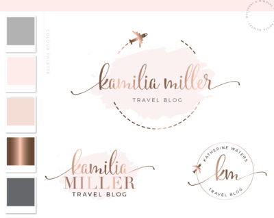 Airplane Logo, Premade Branding kit, Travel globe logo, Plane globe branding, Travel agency logo, Travel agent rose gold Brand Package