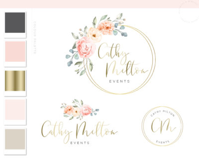Watercolor Floral Logo, Premade Wedding Logo Design, Photography Flower Logo Wreath, Business Logo, Elegant Floral Branding Package