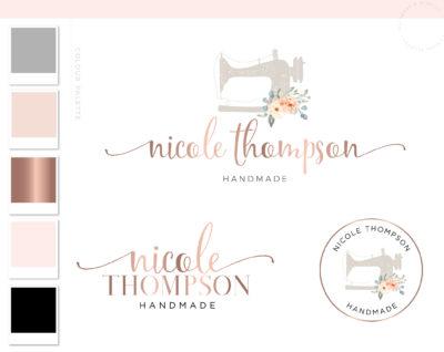 Sewing Machine Logo Design, Premade Crafting Logo, Handmade Floral logo Design, Circuit Logo Branding, Etsy Business Logo Branding Package