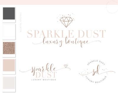Diamond Event Logo, Glitter Logo Design, Rose Gold Logo, Boutique Branding kit, Calligraphy Branding Package, Photography Logo Watermark