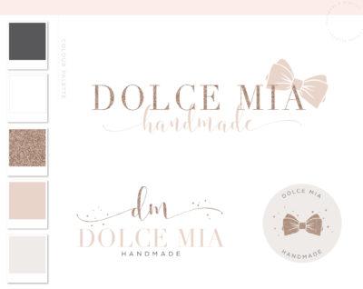 Glitter Bow logo Design, Rose Gold Branding Package with Business Cards, Feminine Bow Shop Boutique Logo Premade Branding Kit
