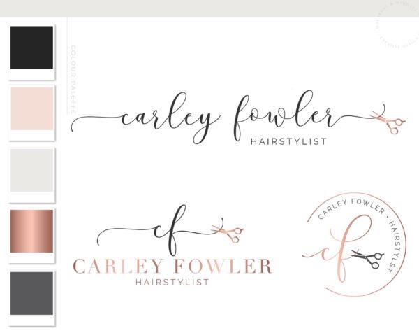 Hairdresser Logo Design with Scissors, Hair Salon Stylist Logo Branding Kit, Beauty Artist Custom Logo Design, Premade Logo With Scissors