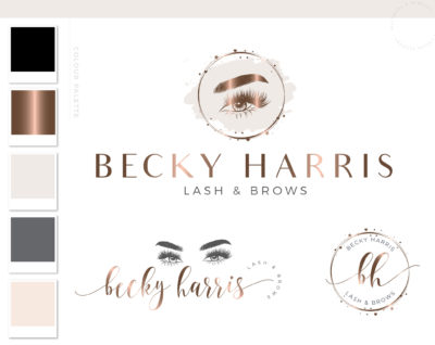 Lash Technician Logo, Eyelash Salon Branding Kit Design for Beauty Artists and Bloggers, Premade Eyelash Logo Template