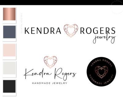 Heart Diamond Jewelry Logo, Jewel Logo Design, Boutique Branding kit, Luxury Handmade Branding Package, Photography Logo Watermark