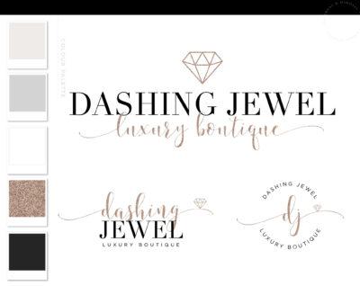Diamond Event Logo, Jewelry Glitter Logo Design, Boutique Branding kit, Handmade Branding Package, Photography Logo Watermark