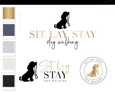 Dog Leash Logo Design, Pet Sitter Premade Branding for Dog & Cat Groomer, Dog Sitting Walking and Training plus Business Card Design