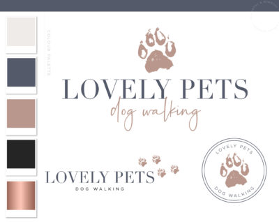 Paw Print Logo Design, Pet Sitter Premade Branding for Dog & Cat Groomer, Dog Sitting Walking and Training plus Business Card Design