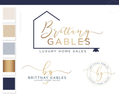 Real Estate Logo, Realty Agent Logo, Copper Rose Gold Home Sales Logo Design, Premade House Key Logo Watermark, Broker Realtor Marketing