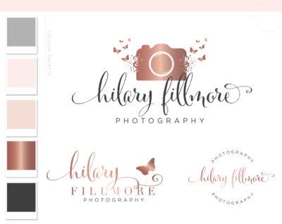Camera Logo Design, Photography Logo Branding Kit, Custom Logo Package and Branding Watermark, Rose Gold Butterfly Business Logo Package