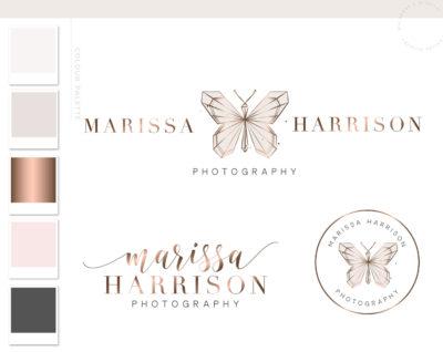 Butterfly Logo Design, Branding Kit, Custom Watercolor Logo Package and Branding Watermark, Rose Gold Butterfly Business Package