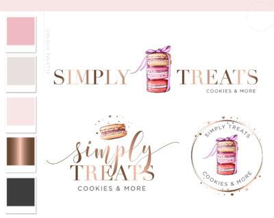 Macarons Logo Design, Watercolor Cakes and Cookie Sprinkle Logo, Artisan Cakes Logo, Kitchen Food Macaroons logo Cooking logo