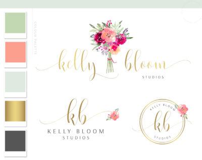Watercolor Bouquet Logo Design, Floral Logo Branding Kit, Wreath Vine Florist Logo, Event Planner Flower Logo, Elegant Floral Business Logo