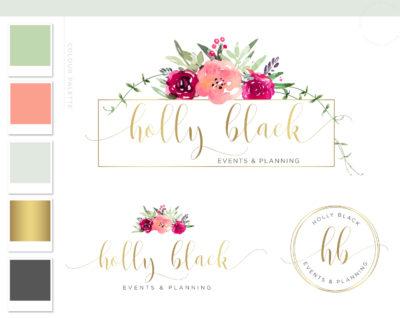 Rose Watercolor Logo Design, Floral Logo Branding Kit, Wreath Vine Florist Logo, Photography Flower Logo, Elegant Floral Business Logo