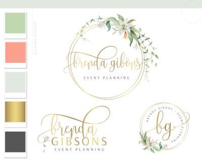 Lily Flower Logo Design, Premade Floral Logo Branding Kit, Wreath Hexagon Logo, Photography Florist Logo, Elegant Floral Business Logo