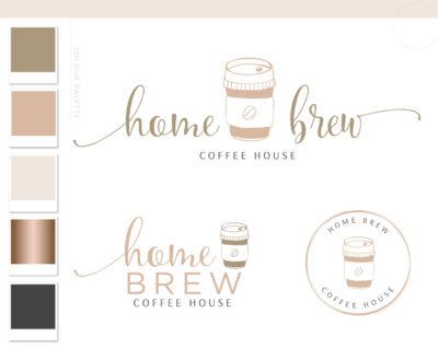 Coffee Logo Design, Coffee Bean Mug Logo Package, Cafe Coffee Cup Logo & Branding Kit, Premade Drink Coffee Logo Watermark for Social Media