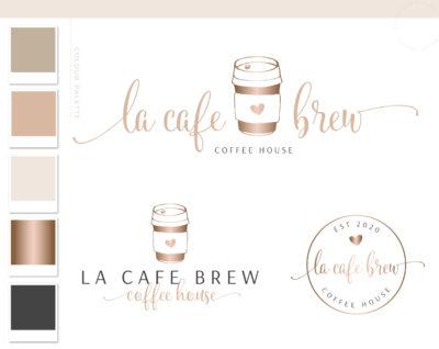 Coffee Logo Design, Cafe Coffee Cup Logo & Branding Kit, Heart Mug Logo Package, Premade Drink Coffee Logo Watermark for Social Media Blog