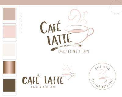 Cafe Logo Coffee Cup Logo & Branding Kit, Heart Mug Logo Package, Premade Drink Coffee Logo Watermark for Social Media Blog
