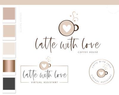 Heart Latte Logo Design, Cafe Coffee Cup Logo & Branding Kit, Mug Logo Package, Premade Drink Coffee Logo Watermark for Social Media Blog