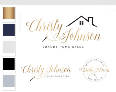 Realtor Logo, Real Estate Logo, House Logo, Realtor Branding, Broker Logo, Premade Logo, Gold Realtor Logo, Interior Design Key Logo