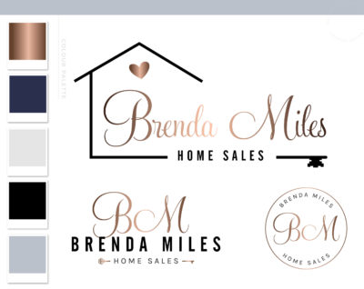Real Estate Logo, Interior Design Key Logo, House Logo with heart and Key, Realtor Logo Branding, Gold Realty Logo, Premade Broker Logo