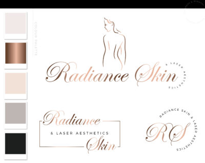 Cosmetic Laser Esthetics Logo Design, Plastic Surgery Procedures Logo Branding Kit, Skincare Fillers and Botox clinic Logo, Salon Logo