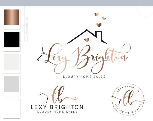 Real Estate Logo, Realtor Logo, House logo watermark, Realtor Marketing real estate agent branding Kit, Broker Logo, Roof Key Heart