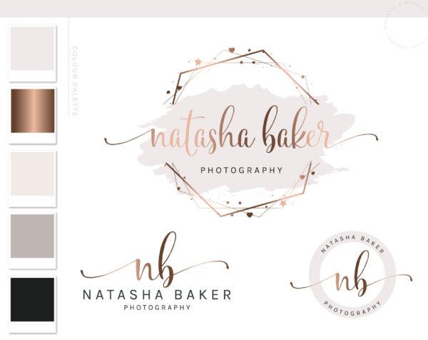Logos & Branding Kit, Rose Gold Photography Logo Design, Wedding Boutique Watermark Blog Set, Custom Star Hear Hexagon Logo Package