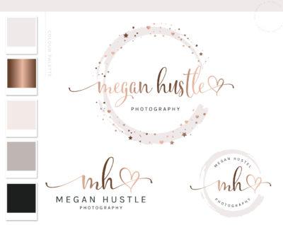 Heart Logo & Branding Kit, Rose Gold Photography Logo Design, Wedding Boutique Watermark Blog Set, Custom Star Watercolor Logo Package
