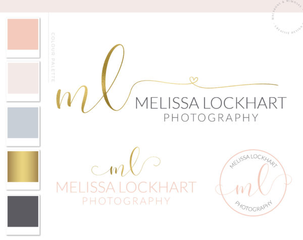 Heart Logo, Modern Calligraphy Logo, Watermark Script Branding Kit, Rose Gold Bronze Logo Design, Premade Photography Logo