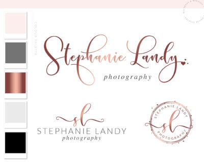 Pink Heart Watercolor Logo, Photography Logo, Logo Design, Logo, Premade Logo, Watermark Logo, Custom Logo, Business Card