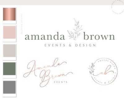 botanical logo design, premade floral logo, flower logo package, Premade Logo Feminine logo Logo Design Brand Design, Rustic Logo Design, Greenery Leaves Logo, Botanical Logo, Botanical florist Logo, Florist