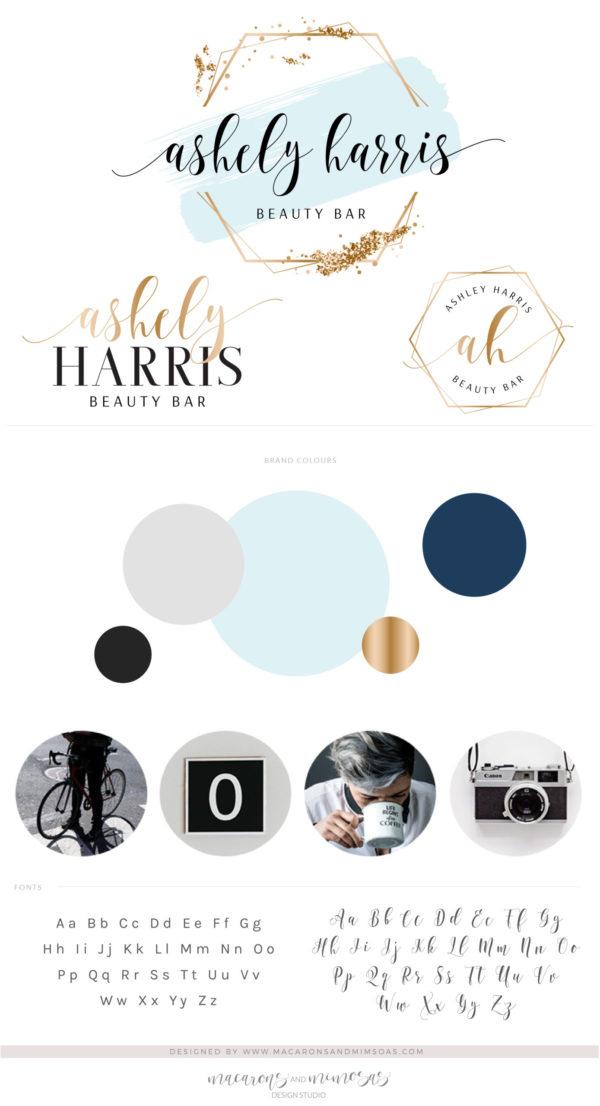 Glitter Confetti Logo Design, Blue Gold Hexagon Photography Logos & Branding Kit Package, Photo Watermark Watercolor Beauty Logo