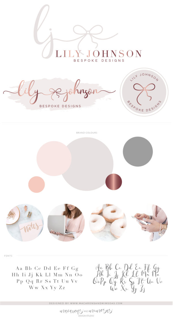 Watercolor Bow logo Design, Mint Blue Rose Gold Branding Package with Business Cards, Feminine Bow Shop Boutique Logo
