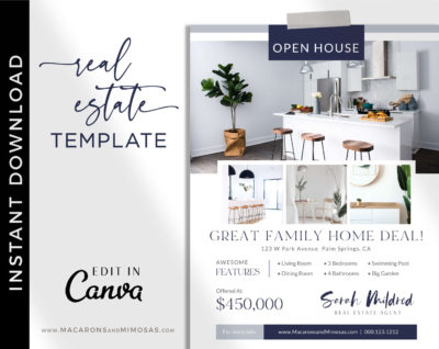Real Estate Flyer Template, Canva Marketing Open House Listing Design, Just Listed Home Flyer Sheet, House for Sale Template