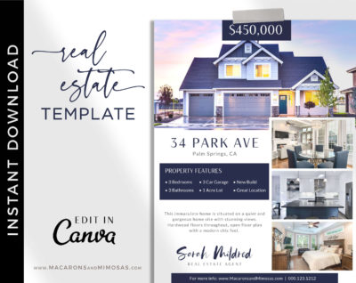 Realty Open House Flyer Template, Real Estate Canva Marketing New House Listing, Just Listed Home Flyer Sheet, House for Sale Template