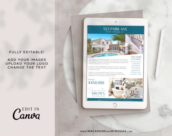Real Estate Flyer Template, Realty Canva Marketing Open House Listing Design, Just Listed Home Flyer Sheet, House for Sale Template