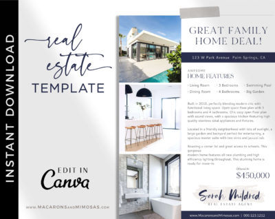 Real Estate Open House Flyer Template, Just Listed Home Flyer Sheet, Canva Marketing New House Listing Design, House for Sale