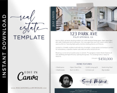 Open House Flyer Template, Real Estate Just Listed Home Flyer Sheet, Canva Marketing New House Listing, Realty House for Sale Template
