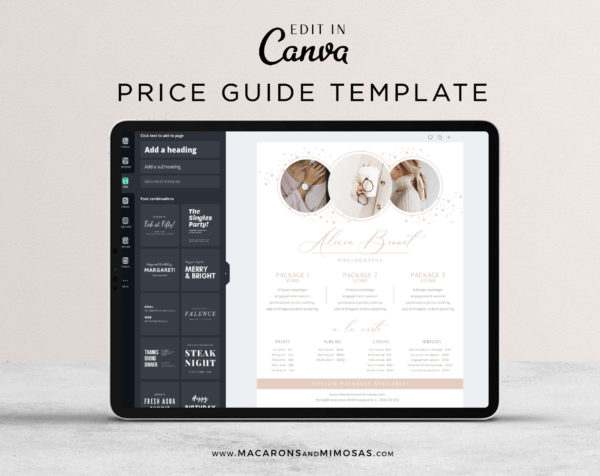 Pricing Guides Sheet, Canva Heart Star Photographer Price List, Pricing Guide Template, Baby Photography Branding Wedding Rack Card