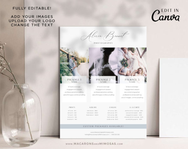 Photographer Welcome Guide Template, Pricing Guide Sheet, Marketing Canva Price Card, Photography Business Pricing List