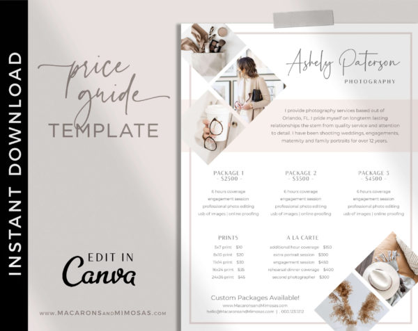 Wedding Photography Pricing Guides Kit, Canva Photographer Price List, Pricing Guide Template, Wedding Photographer Logo Branding