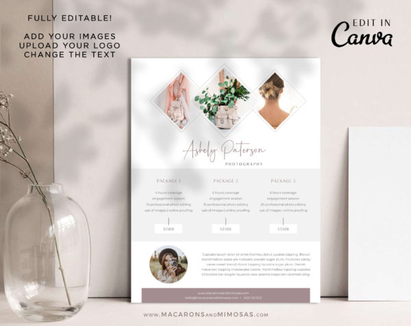 Photography Pricing Guide, Welcome Package Template, Canva Photographer Price List Sheet, Wedding Photographer Business Rate Sheet