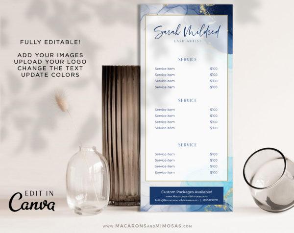 Blue Marble Gold Rack Card, Makeup Artist Price List, Lash Extension Brow Salon Spa Price Sheet, Nail Service List Guide, Elegant Canva Beauty Salon Rack Card Template