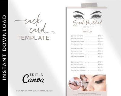 Beauty Price List, Lash Artist Salon Spa Price Sheet, Nail Service List Guide, Elegant Beauty Salon Rack Card, Lash Extension Prices