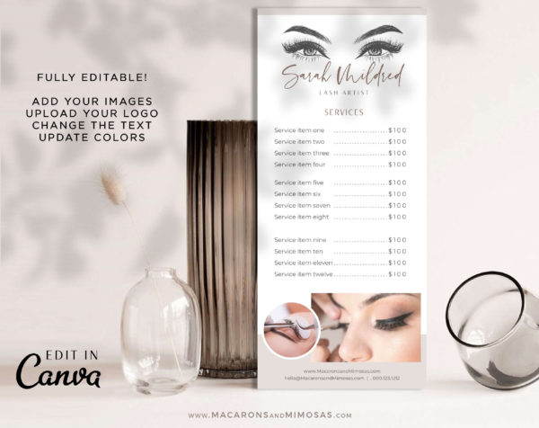 Beauty Price List, Lash Artist Salon Spa Price Sheet, Nail Service List Guide, Elegant Beauty Salon Rack Card, Lash Extension Prices