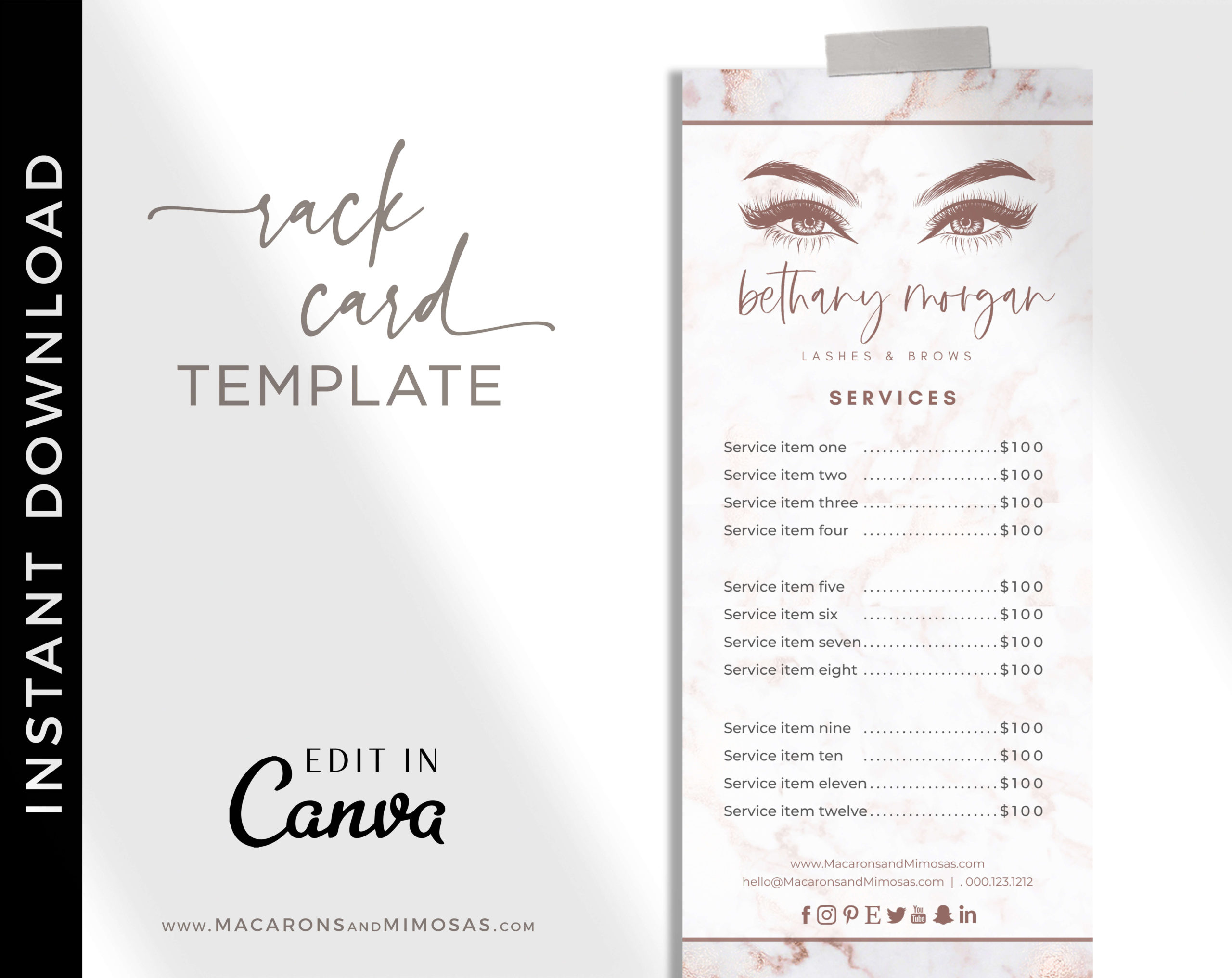 Lash Price List, Beauty Artist Rose Gold Marble Salon Spa Price Sheet, Nail Service List, Beauty Salon Rack Card, Lash Extension Prices