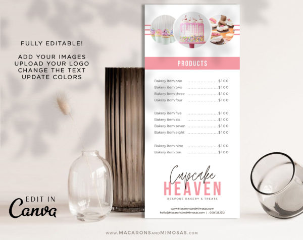 Bakery Price Sheet, Rack Card for Cakes, Price Sheet Menu for Cupcakes Treats and Desserts, Editable Bespoke Bakery Price Sheets