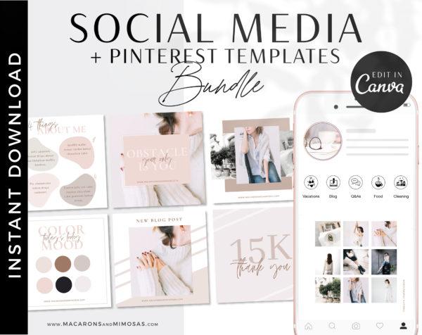 Pinterest templates for Canva, Boho Instagram Post Templates for Canva Fashion Infuenser Instagram Templates